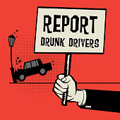 Poster in hand, business concept text Report Drunk Drivers