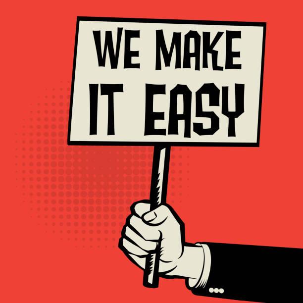 illustrazioni stock, clip art, cartoni animati e icone di tendenza di poster in hand, business concept we make it easy - facilità