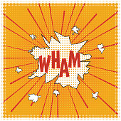 istock WHAM! Poster in the style of a cartoon cartoon pop art with elements of halftones and speed lines, speech bubbles and red letters on a yellow background. Vector. 1211472007