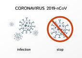 Poster infection and stop coronavirus bacteria virus Medical concept to stop the spread of coronavirus 2019-ncov quarantine theme Medicine concept Coronavirus infection danger message epidemic Vector