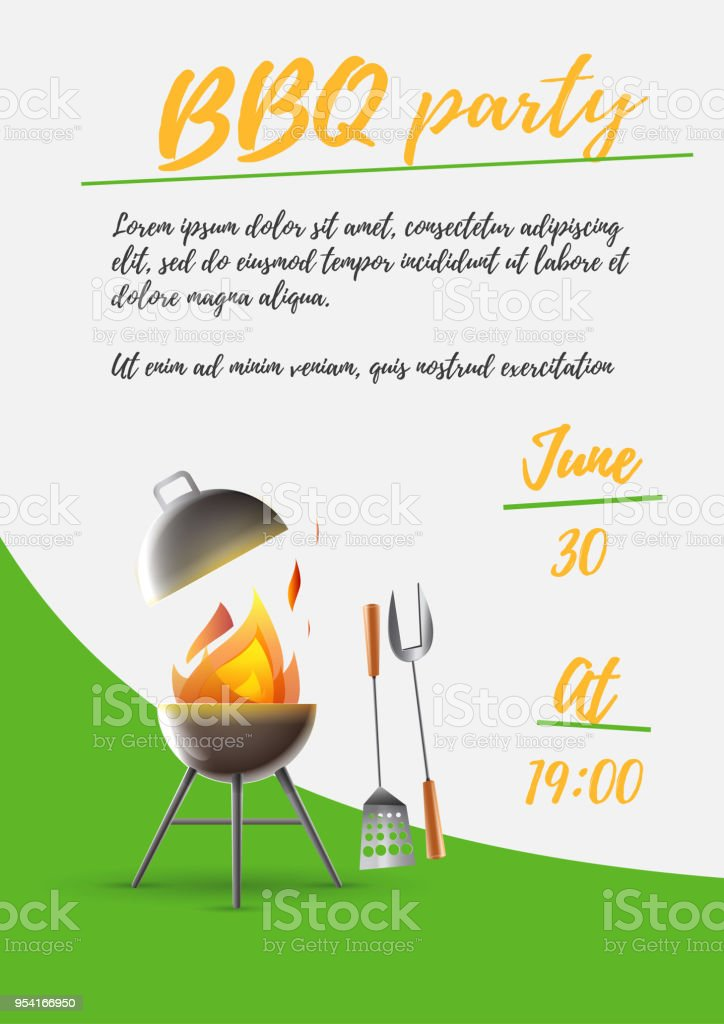 Poster invitation summer barbecue vector art illustration