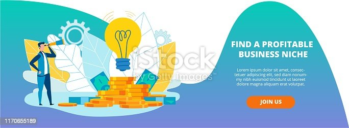 Poster is Written Find a Profitable Business Niche. Brand Awareness Raising. Flat Man Looking Through Telescope at Light Bulb and Gold Coins Cartoon. Vector Illustration Landing Page.