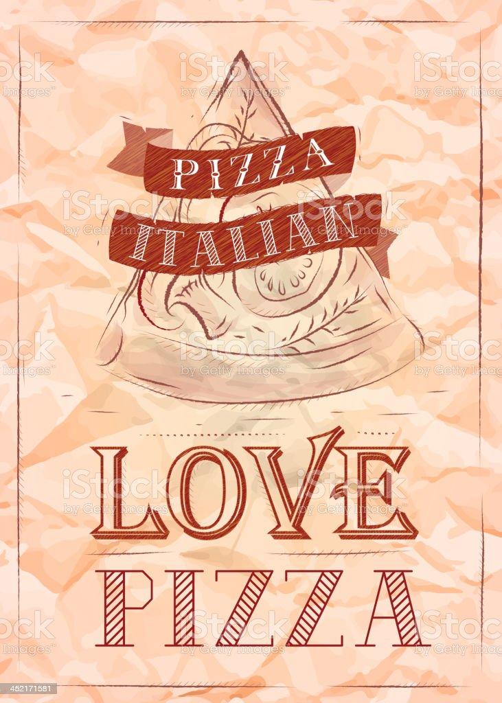 Poster Italiano Pizza Amore Carta Increspata In Stile Retrò Rosso