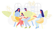 Poster Joyful Family Communication Cartoon Flat. Dad and Mom are Sitting Together on Couch and Chatting with their Daughter Parents with Girl Visit Specialist. Group Family Counseling.