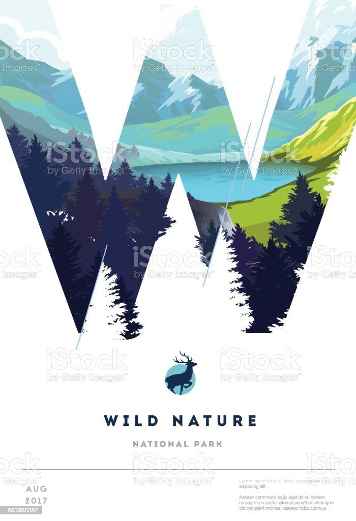 Modelo de layout de cartaz com fundo de paisagem natureza - ilustração de arte em vetor