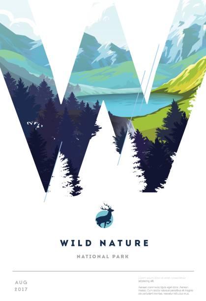 Plakat-Layout-Vorlage mit Natur-Landschaft-Hintergrund – Vektorgrafik