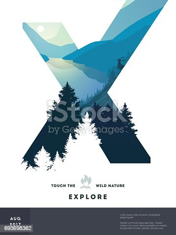 Poster layout template with nature landscape background. Vector Illustration
