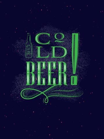 Poster lettering cold beer dark