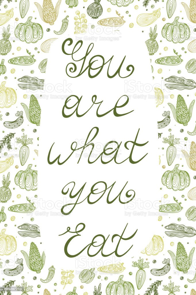 Poster Lettering You Are What You Eat With Abstract Vegetables