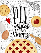 Poster pie with illustrated cookie, egg, whisk, rolling pin in vintage style lettering pie makes me happy drawing on dirty paper background