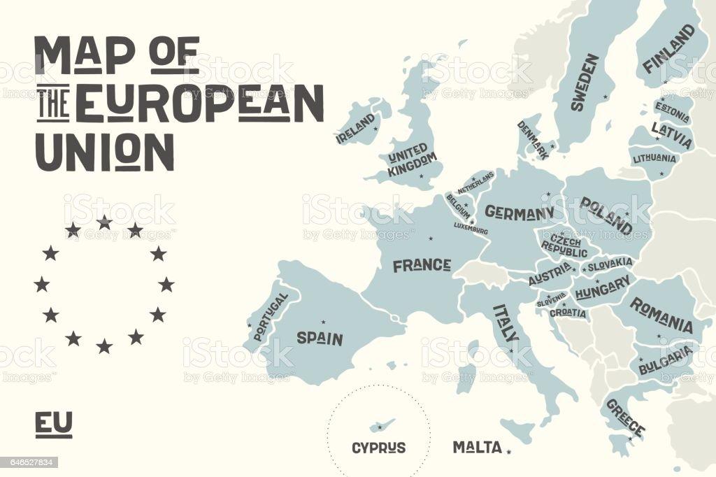 Mapa de cartel de la Unión Europea con nombres de países ilustración de mapa de cartel de la unión europea con nombres de países y más vectores libres de derechos de bandera libre de derechos