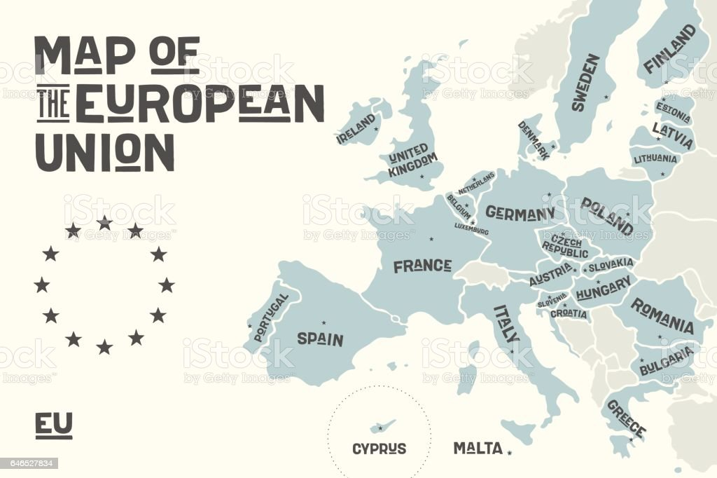 Poster map of the European Union with country names vector art illustration