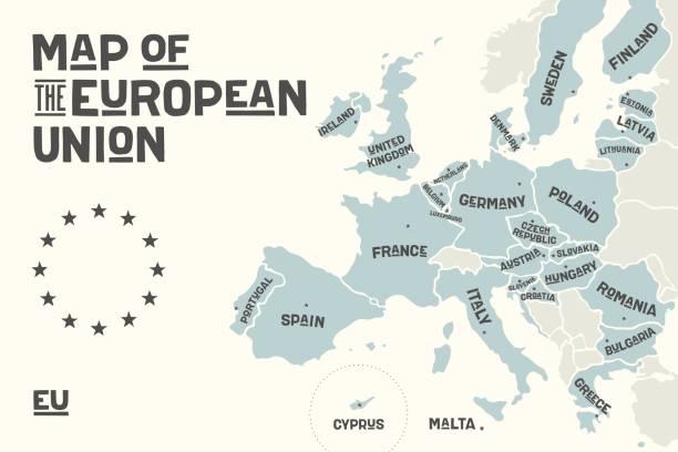 Poster-Karte der Europäischen Union mit Ländernamen – Vektorgrafik