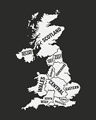 Poster map of United Kingdom map. UK with country and regions names. United Kingdom background. Vector illustration