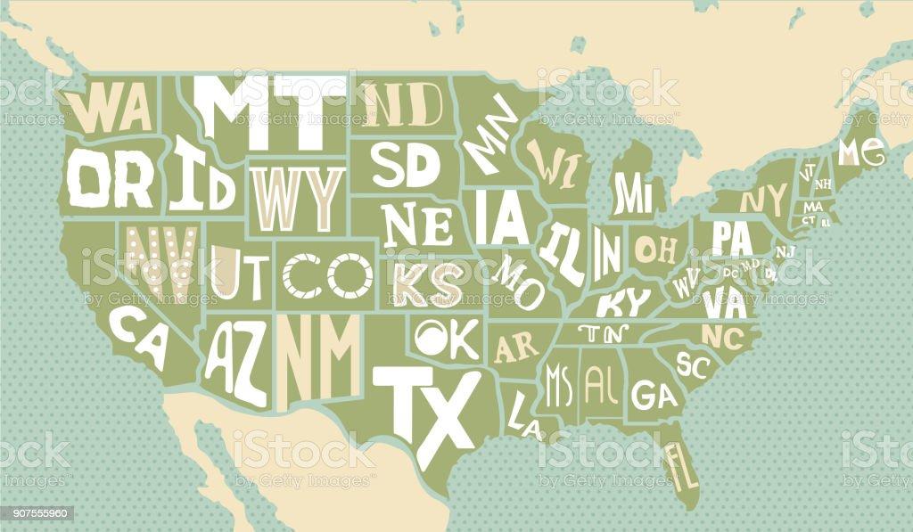 Poster-Karte der Vereinigten Staaten von Amerika – Vektorgrafik