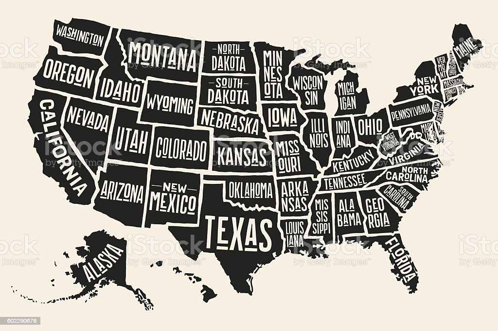 Poster map United States of America with state names