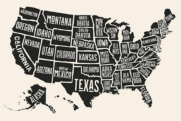 Poster map United States of America with state names Poster map of United States of America with state names. Black and white print map of USA for t-shirt, poster or geographic themes. Hand-drawn black map with states. Vector Illustration southern usa stock illustrations