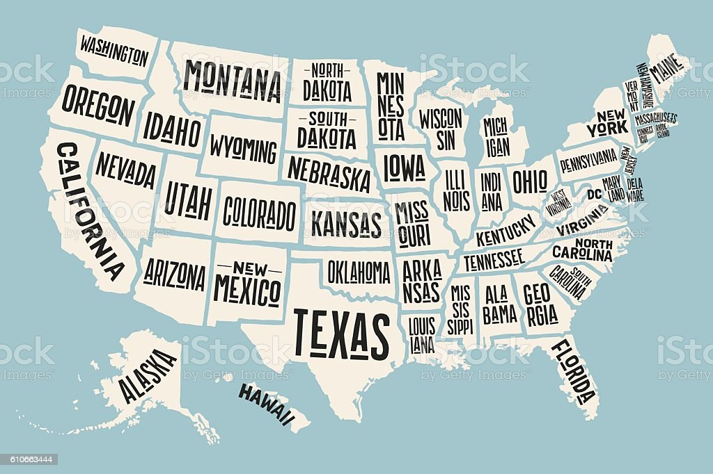 The Map Of The United States With Names.Poster Map United States Of America With State Names Stock Vector