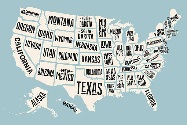 Poster map United States of America with state names Poster map of United States of America with state names. Print map of USA for t-shirt, poster or geographic themes. Hand-drawn colorful map with states. Vector Illustration southern usa stock illustrations