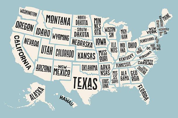 ilustraciones, imágenes clip art, dibujos animados e iconos de stock de poster map united states of america with state names - siluetas de mapas