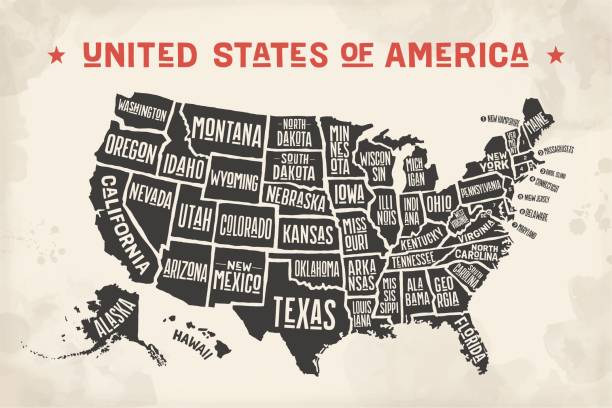 状態名のポスターマップアメリカ合衆国 - ビンテージの地図点のイラスト素材/クリップアート素材/マンガ素材/アイコン素材