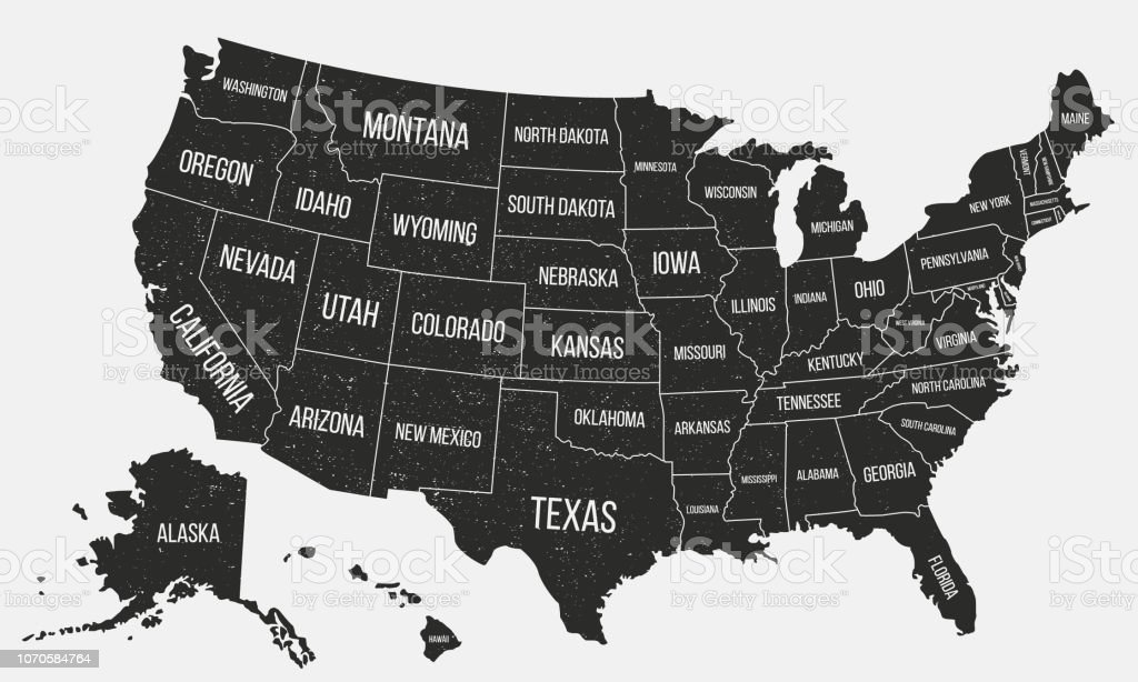 USA poster map with state names. United States of America map with grunge texture. American background. Vintage style. Vector illustration royalty-free usa poster map with state names united states of america map with grunge texture american background vintage style vector illustration stock illustration - download image now