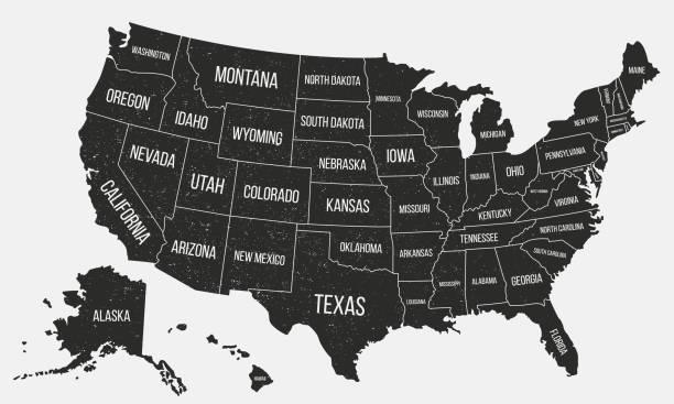 국가 이름 가진 미국 포스터 지도입니다. 그런 지 짜임새를 가진 미국의 지도입니다. 미국 배경입니다. 빈티지 스타일입니다. 벡터 일러스트 레이 션 - 미국 stock illustrations