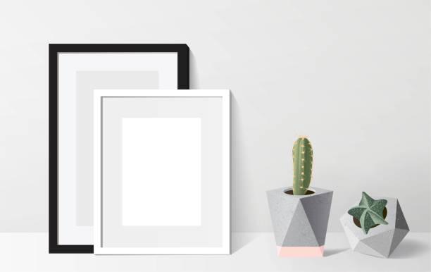 ilustrações de stock, clip art, desenhos animados e ícones de poster mock up with empty white frame and succulent plants. - sideboard