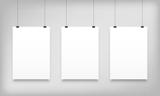 Poster mockups hanging. Vector white paper canvas posters or A4 photo frames templates