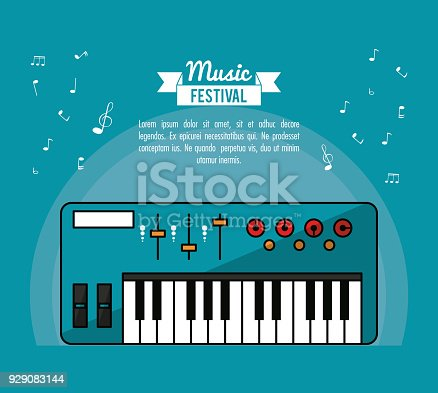 Poster Music Festival In Blue Background With Electronic Piano Stock Vector Art More Images Of 929083144