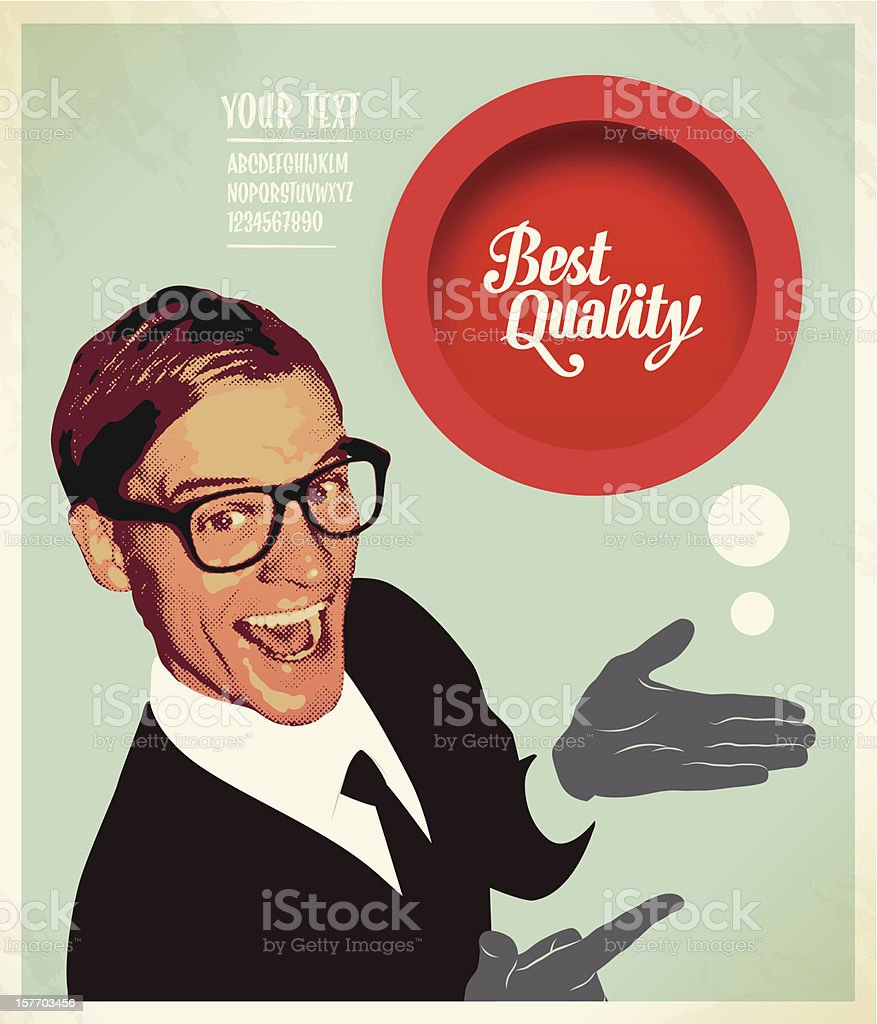 A poster of a salesman presenting a best quality button vector art illustration