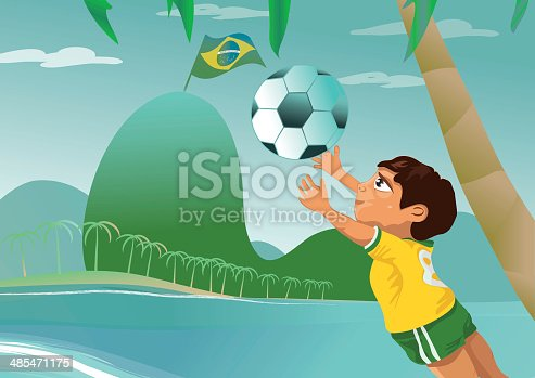istock poster of an brazilian boy is catching the football 485471175