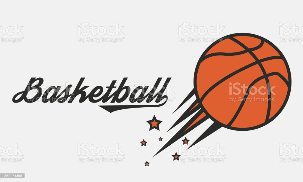 Poster of Basketball game. Flying Basketball ball with stars. Vector illustration vector art illustration