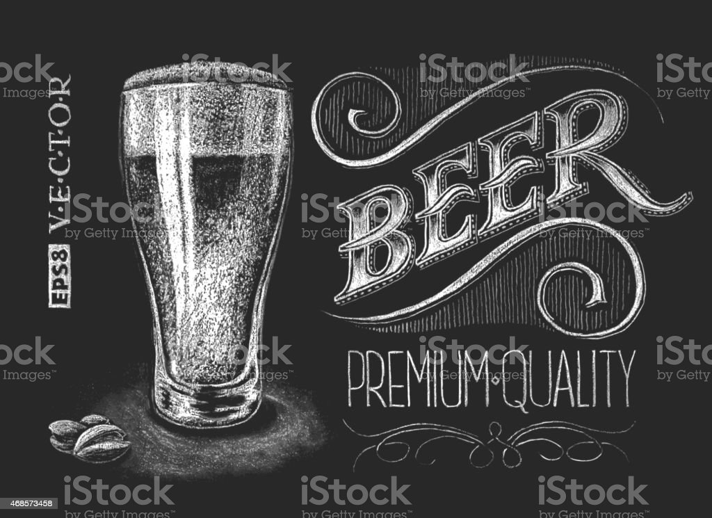 Poster of beer on the chalkboard vector art illustration