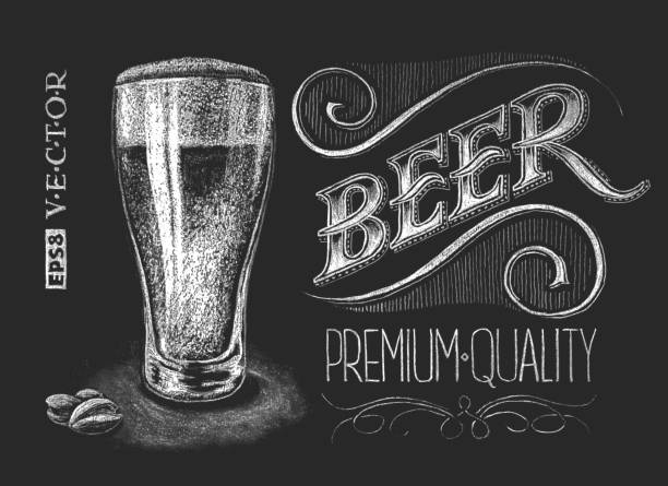 Poster of beer on the chalkboard​​vectorkunst illustratie