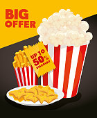 poster of big offer with popcorn and delicious food vector illustration design