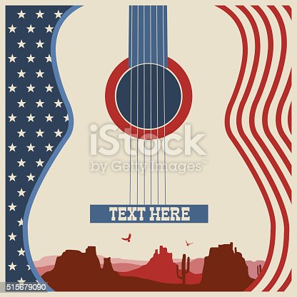 American poster of music festival.Vector country music background with guitar