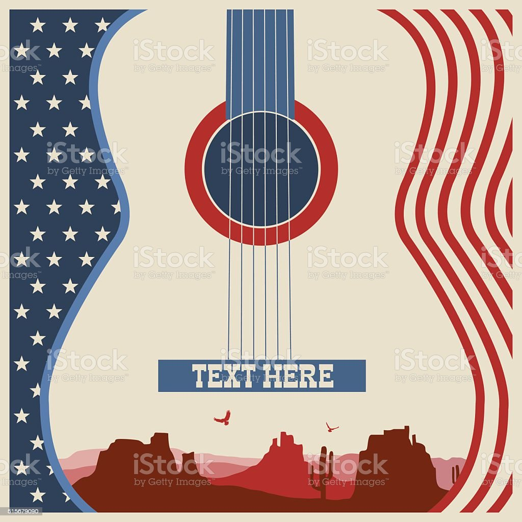 poster of concert music festival with guitar vector art illustration