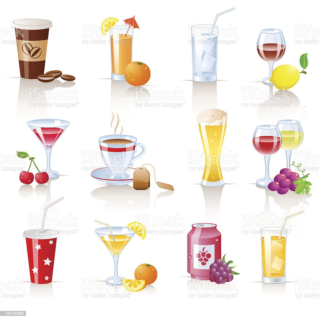 A poster of different hot and cold beverage options  royalty-free stock vector art