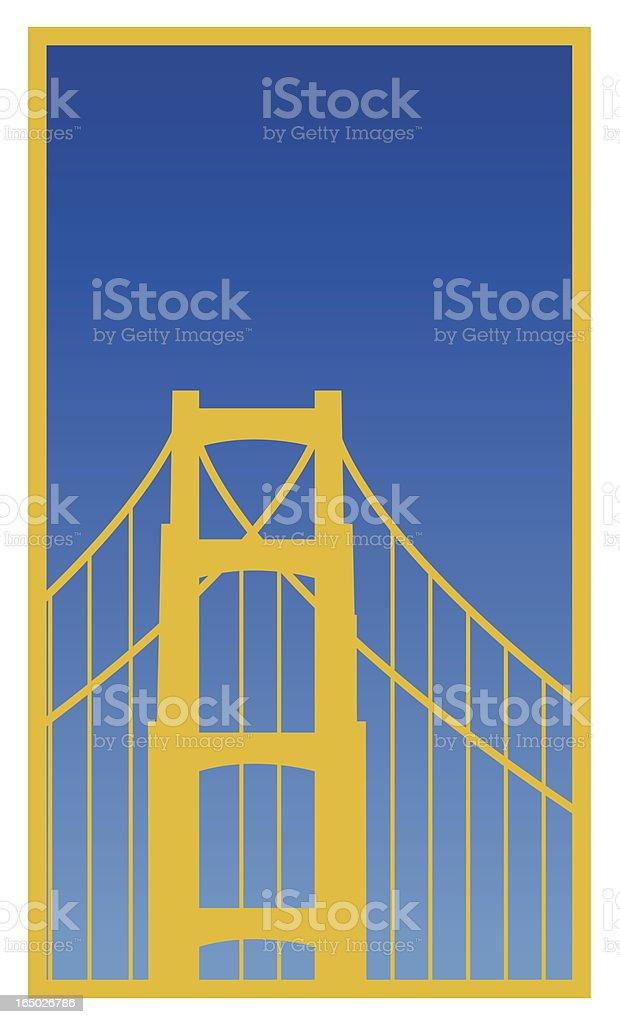 Poster of Golden Gate Bridge in blue sky vector art illustration