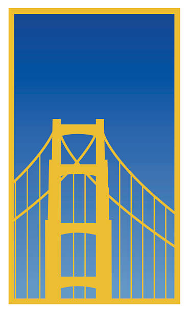 Poster of Golden Gate Bridge in blue sky vector art illustration