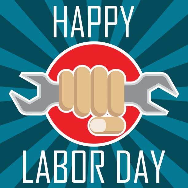 poster of happy labor day, labour day, sale day, may day, 1 may. vector illustration - may day stock illustrations, clip art, cartoons, & icons