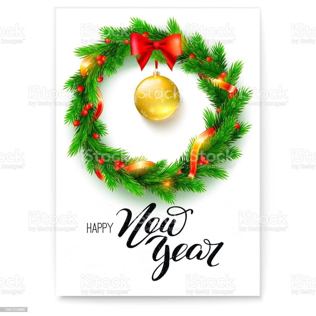 poster of happy new year greetings card with design of welcome text and wreath of