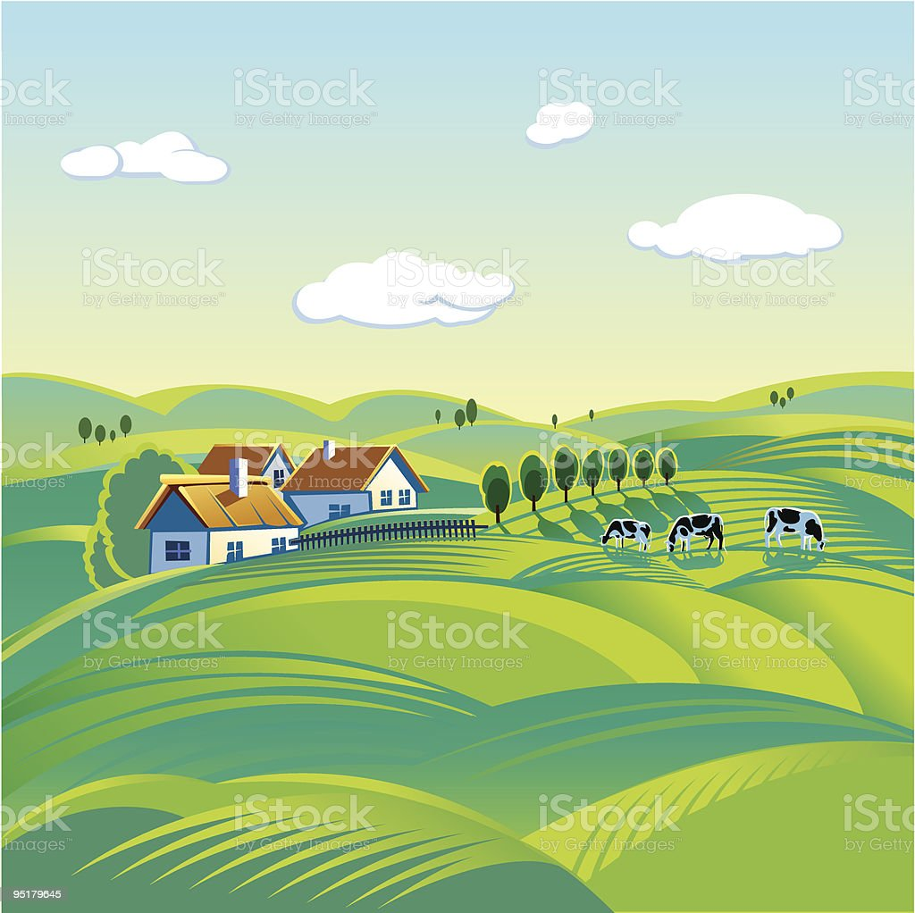Poster of peaceful summer day in a town royalty-free poster of peaceful summer day in a town stock vector art & more images of agriculture