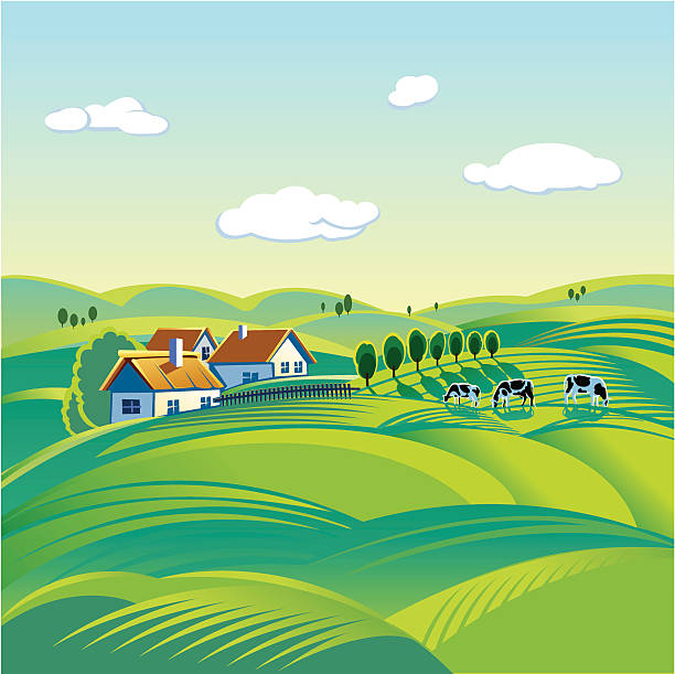 stockillustraties, clipart, cartoons en iconen met poster of peaceful summer day in a town - grassenfamilie