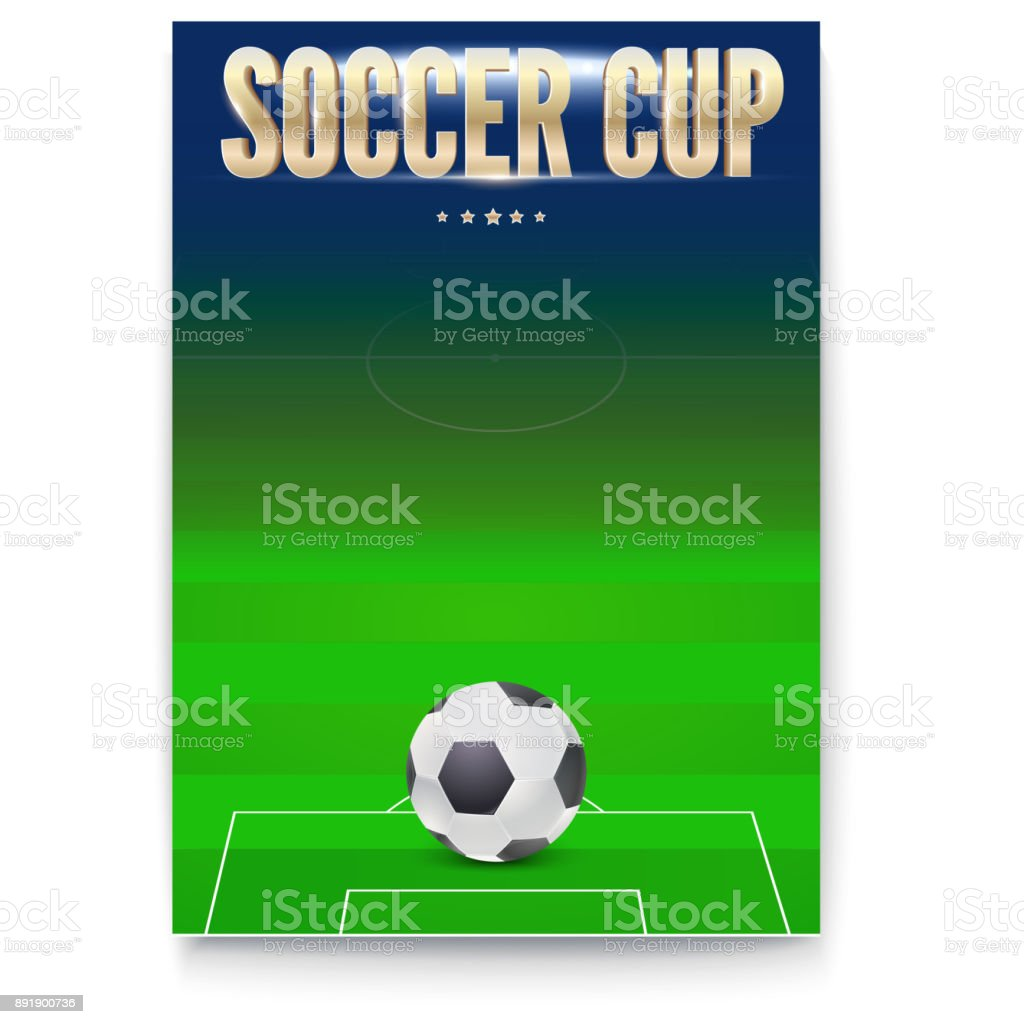 Poster Of Soccer Cup Design Of Flyer Soccer Ball On Background Of