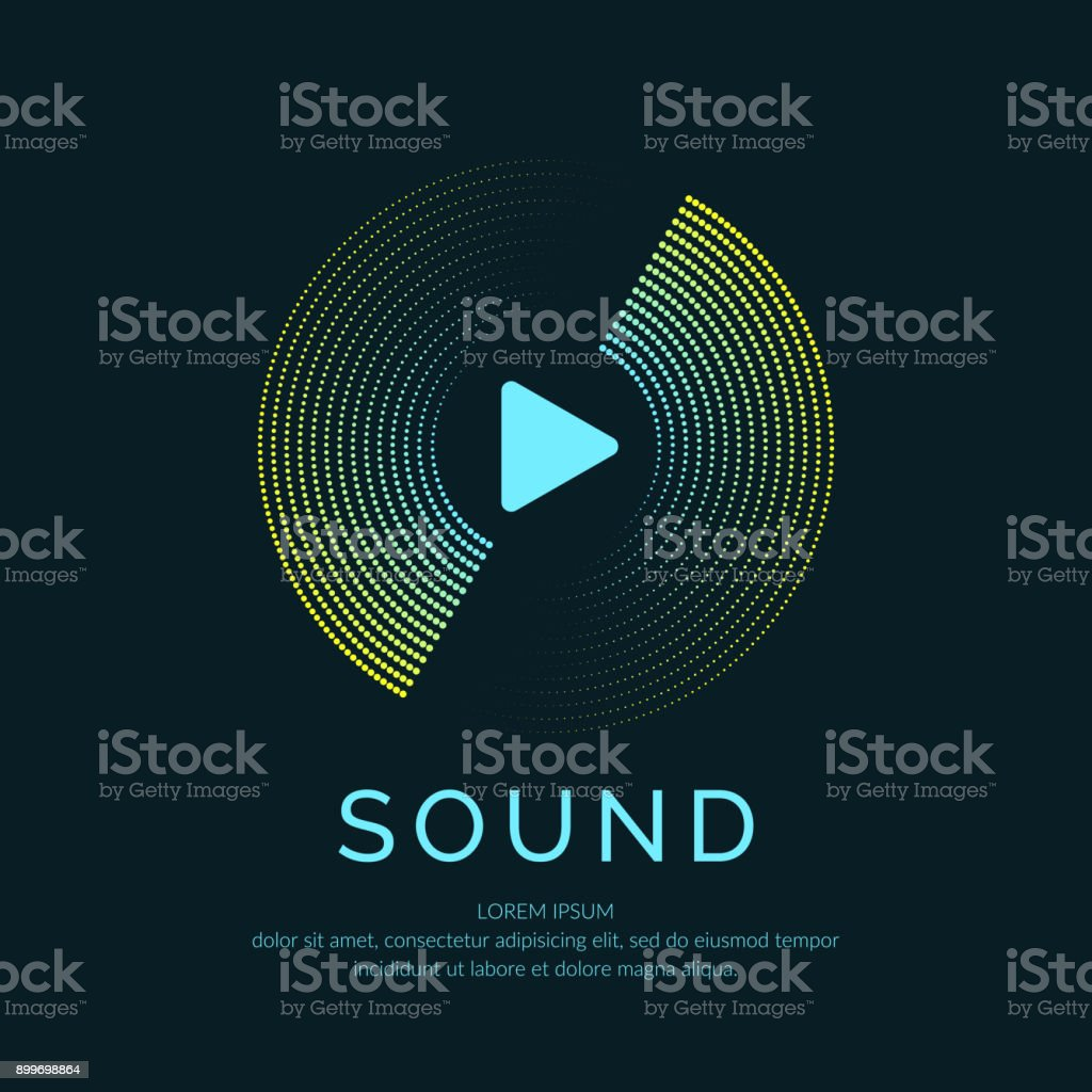 Poster Of The Sound Wave Vector Illustration On Dark