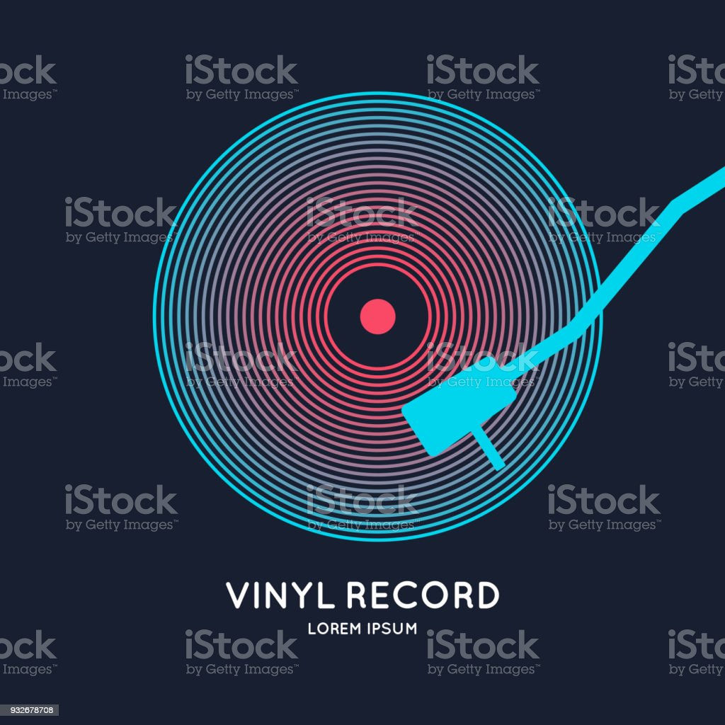 Poster of the Vinyl record. Illustration music on dark background