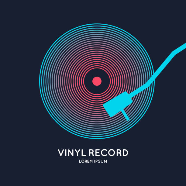 poster of the vinyl record. illustration music on dark background - record analog audio stock illustrations