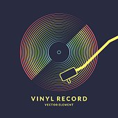 Poster of the Vinyl record. Vector illustration on dark background